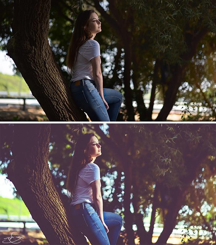תמונה עליונה: לפני עיבוד. תמונה תחתונה: אחרי עיבוד. צילום: תומר אלמקייס. דוגמנית: אפי פלריה. מתוך סדנת צילום אנשים בתאורה טבעית